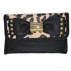 Betsey Johnson Leopard  Print with Bow Clutch